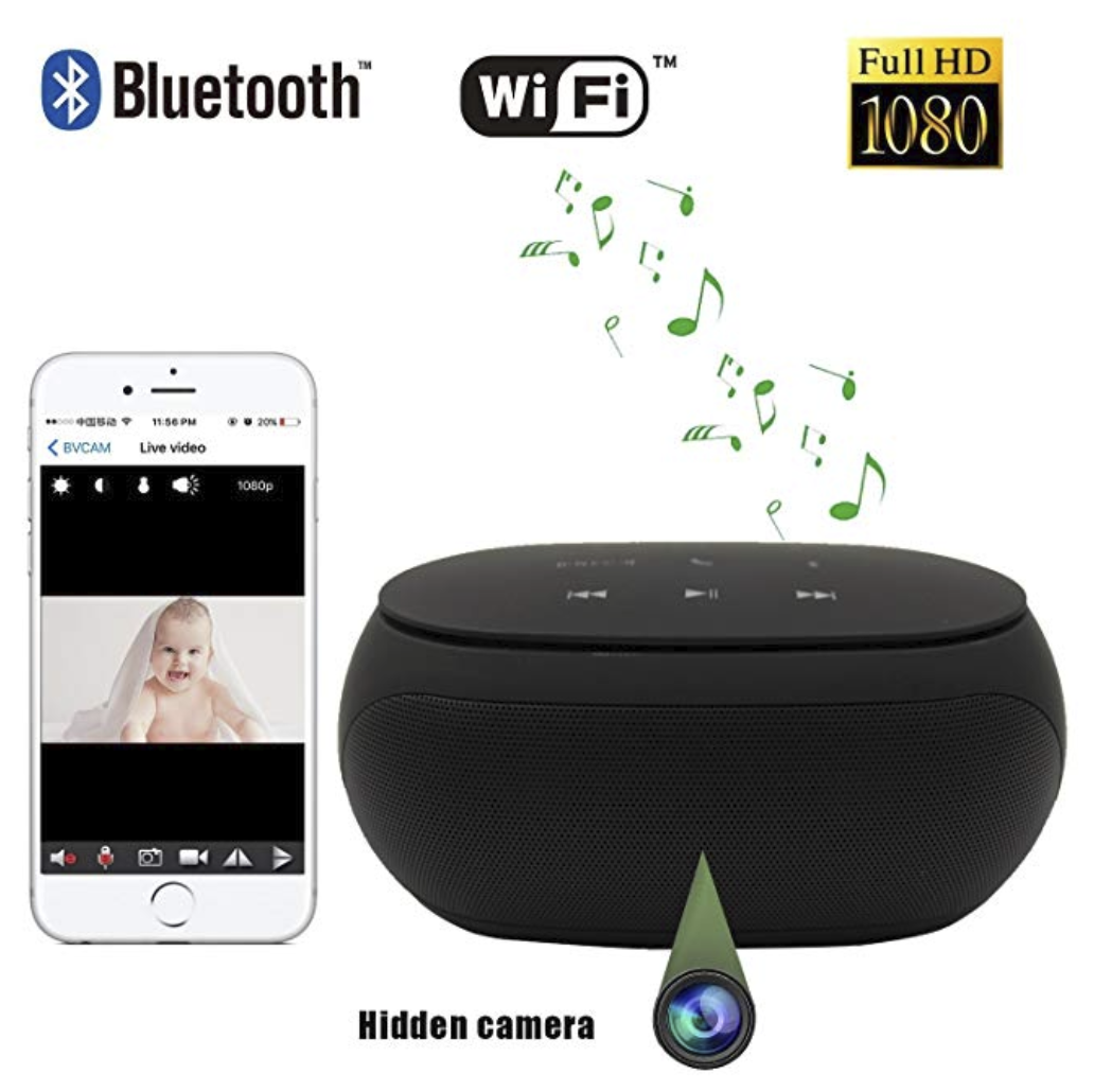 Wireless Hidden Spy Camera Bluetooth Speaker with Invisible Lens - Remote View - IP camera - HD 1080P WiFi Camera - Surveillance Camera - Burling Mini Camera(black)