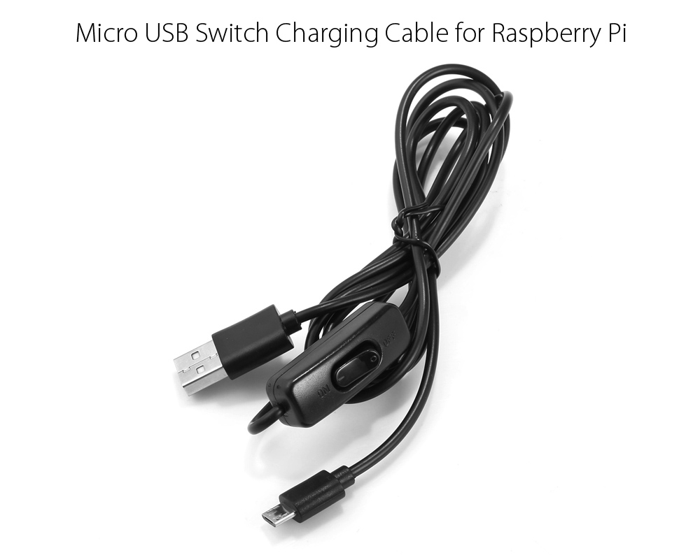 1.5m 5V 2A Micro USB Switch Charging Cable for Raspberry Pi - BLACK