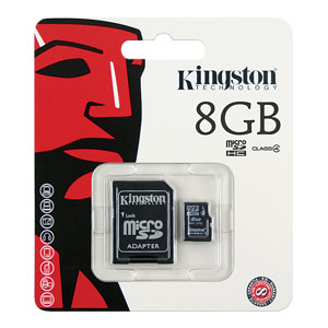 Kingston 8GB Class 4 MicroSD Memory Card w/ FREE SDHC Adapter