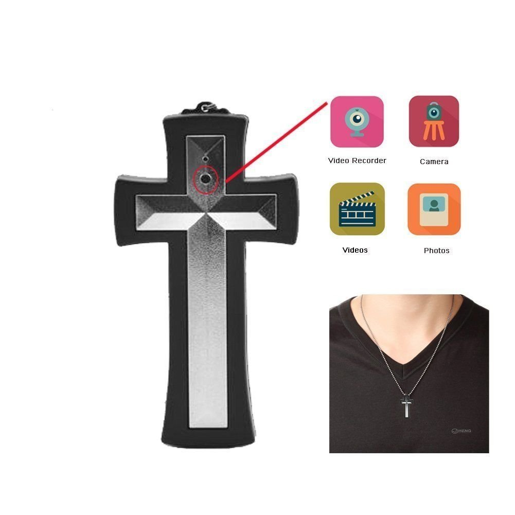 Wearable Cross Necklace Spy Camera/Hidden Surveillance Security Cam