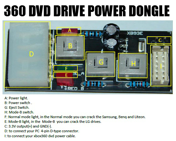 XBox 360 DVD Drive Power Dongle (CK3/Maximus) w/ FREE DVD power cable