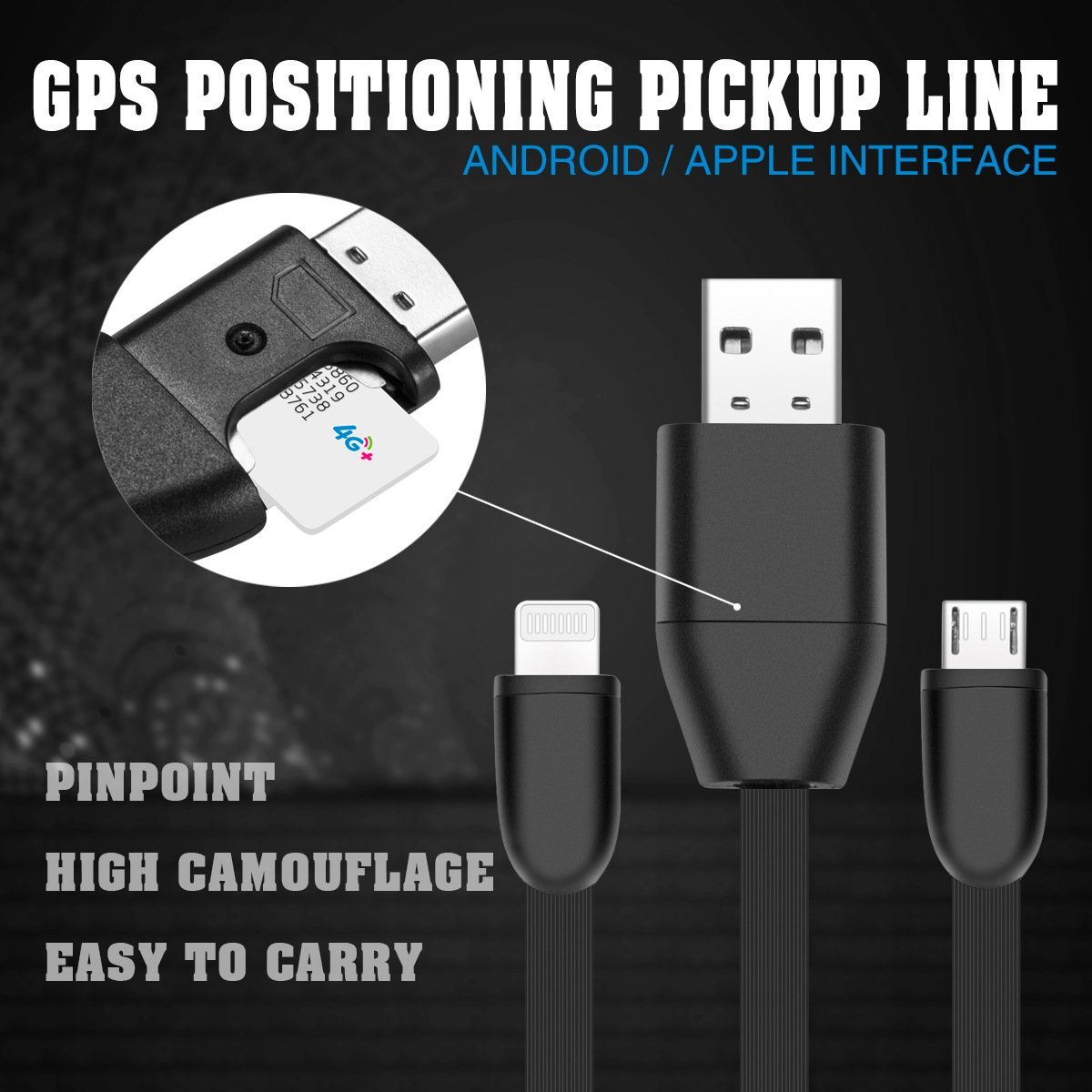 GPS Sim Card Cable Tracker USB Charging Cable for Vehicles, Luggage Real Time GSM GPRS System Tracking Device for Android iPhone